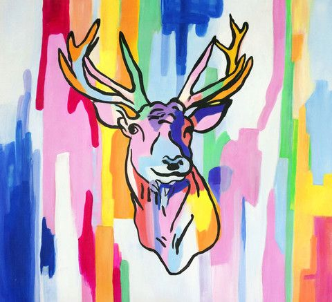 Deer head in neon paint - Available for sale at creativestrokes.com.au