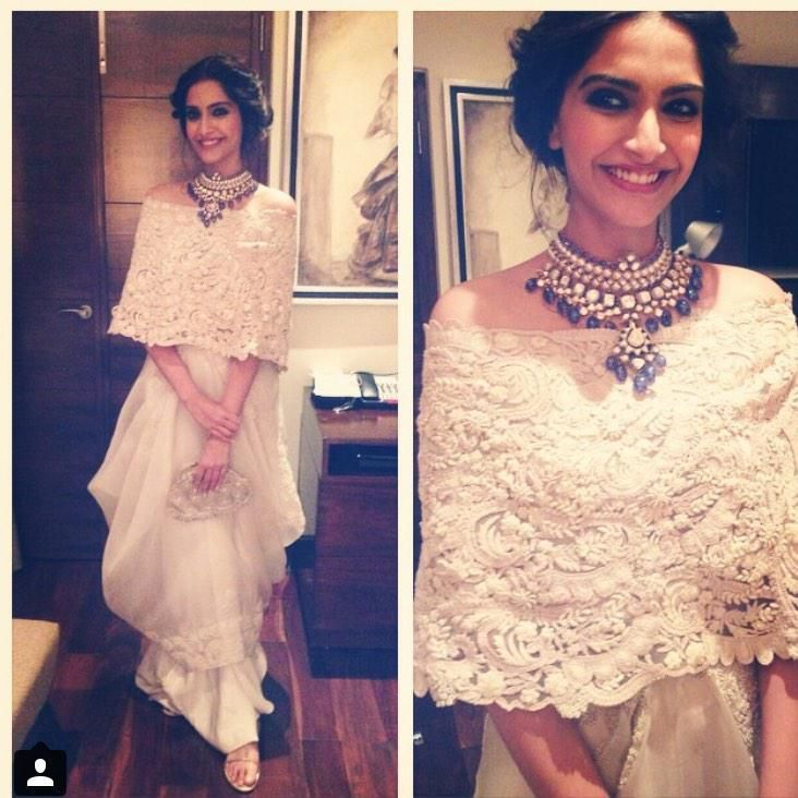 Sonam Kapoor wearing a gorgeous polki and blue drops necklace with an outfit by Anamika Khanna. Get your jewellery customised by a wedding shopper & stylist. Bridelan - a personal wedding shopper & stylist. Website www.bridelan.com #Bridelan