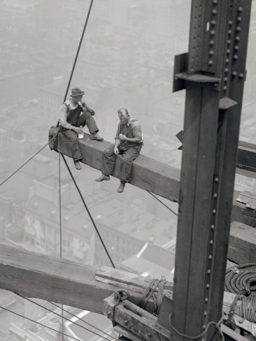 Workers sitting on steel beam. This gives me a rush