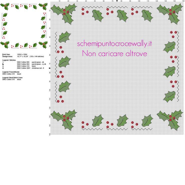 Bordo natalizio per Natale con pungitopo e bacche rosse schema punto croce gratis
