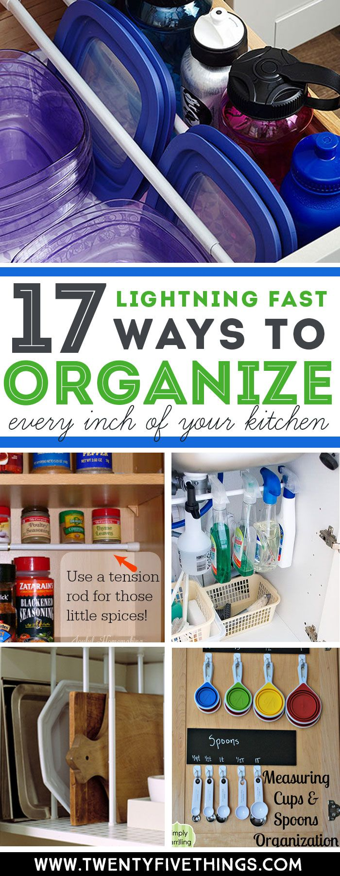 You can organize every inch of your kitchen super-fast with these genius tips. Check out how to use tension rods, command hooks, and file folders for quick and easy kitchen organization. #OrganizationIdeas #kitchen