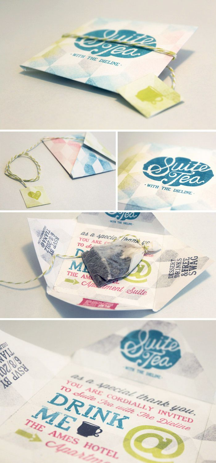 A really lovely invite. So cute! via: http://www.thedieline.com/blog/2012/7/19/suite-tea-with-the-dieline.html