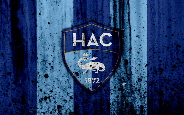 Download wallpapers FC Havre, 4k, logo, Ligue 2, stone texture, France, Le Havre AC, grunge, soccer, football club, Liga 2, Havre FC