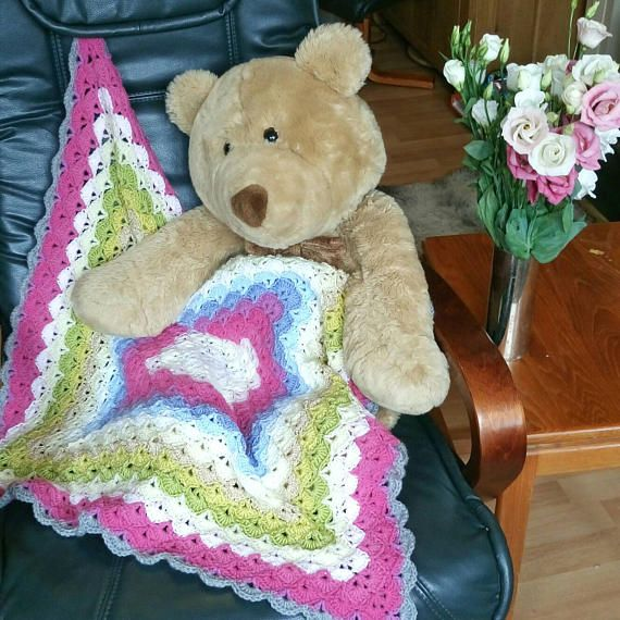 Check out this item in my Etsy shop https://www.etsy.com/uk/listing/540051857/pink-crochet-blanket-girls-baby-blanket