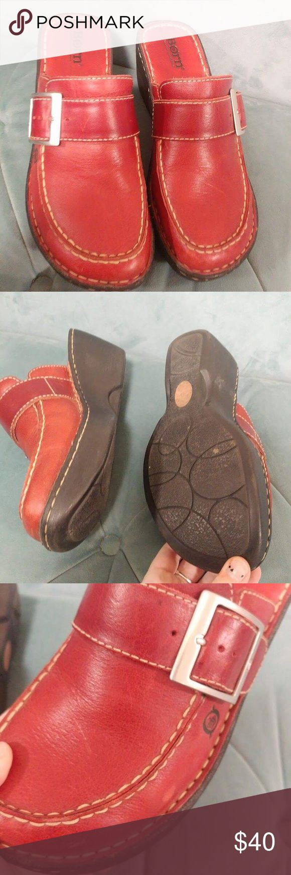 Born size 8 red Mules clogs slip ons Born red slides mules clogs. Worn with some scratches. Super cute color. Size 8 Born Shoes Mules & Clogs