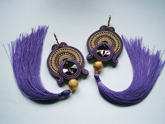 Hey, I found this really awesome Etsy listing at https://www.etsy.com/listing/158277850/violet-and-gold-soutache-earrings-with