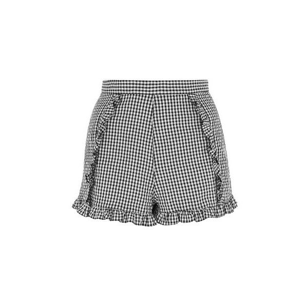 Topshop Gingham Crinkle Shorts (265 GTQ) ❤ liked on Polyvore featuring shorts, monochrome, topshop shorts, frilly shorts, ruffle shorts and gingham shorts