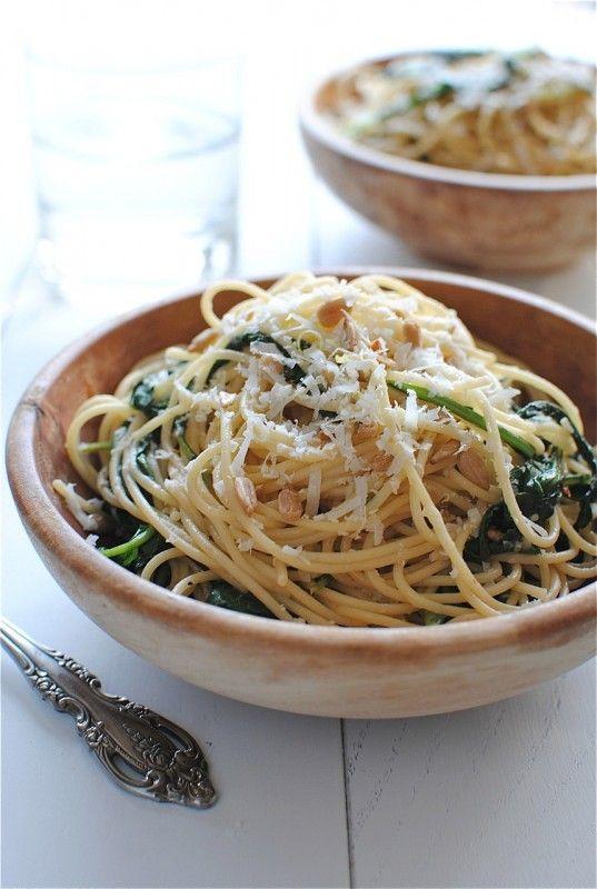 spaghetti with kale and lemon//