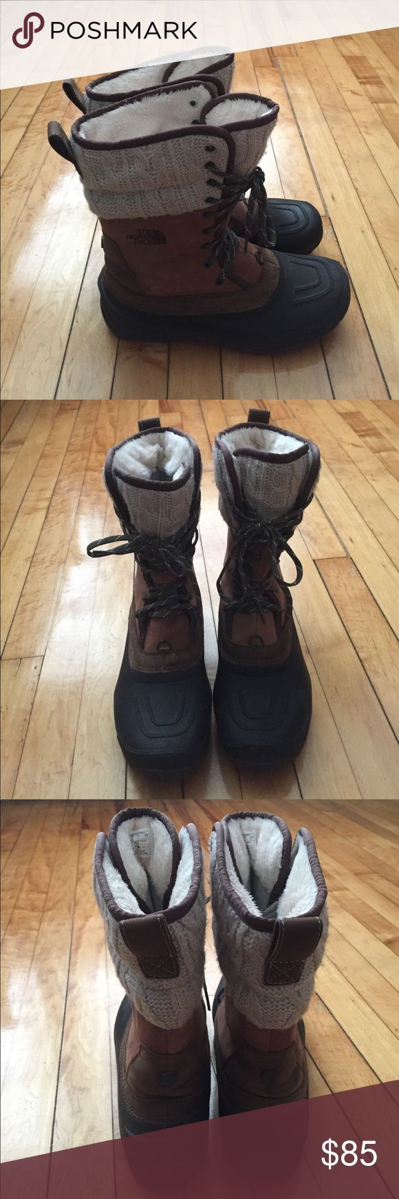 North Face Winter Boots 2014/2015 North Face snow boots. Brown with grey/tan quilted detail and dark green laces. In good condition. Worn very few times. Clean, warm, and comfortable. TNF Winter Grip soles. North Face Shoes Winter & Rain Boots
