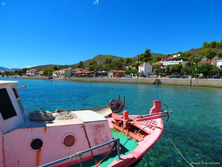 An old fishing boat resting at the port of Loutra Gialtron, Evia