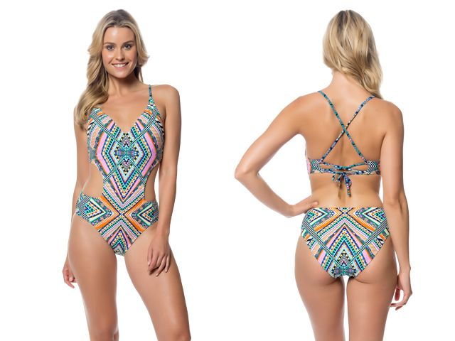 JESSICA SIMPSON SWIMWEAR VENICE BEACH CUT OUT ONE PIECE