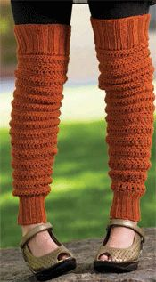 Crochet Leg Warmers 'Peggy's Leg Warmers' by Mary Beth Temple. One of five patterns in 'Free Crochet Accessories Patterns for Crochet Headbands, Leg Warmers, Hooded Scarves and More.' Free registration required at CrochetMe.