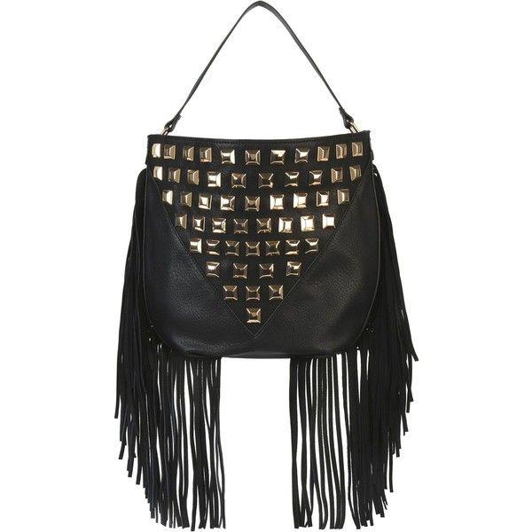 Steve Madden Handbag ($128) ❤ liked on Polyvore featuring bags, handbags, shoulder bags, black, steve madden, fringe purse, steve madden purses, studded hobo handbag and studded handbags