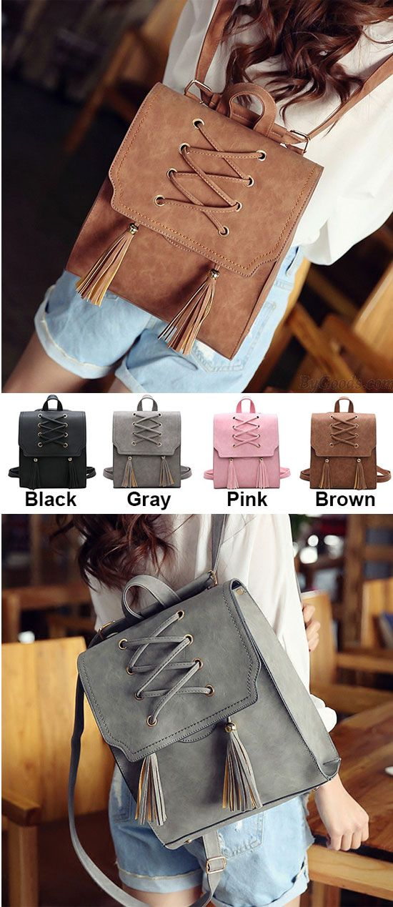 Which color do you like? Retro Girl's Cross Bandage Tassels Flap Square Brown Weave Leisure Travel Backpack #retro #weave #leisure #square #brown #tassel #cross