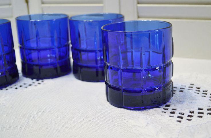 Vintage Tartan Cobalt Blue Tumbler Set of 4 Low Ball Glass Anchor Hocking Glassware PanchosPorch