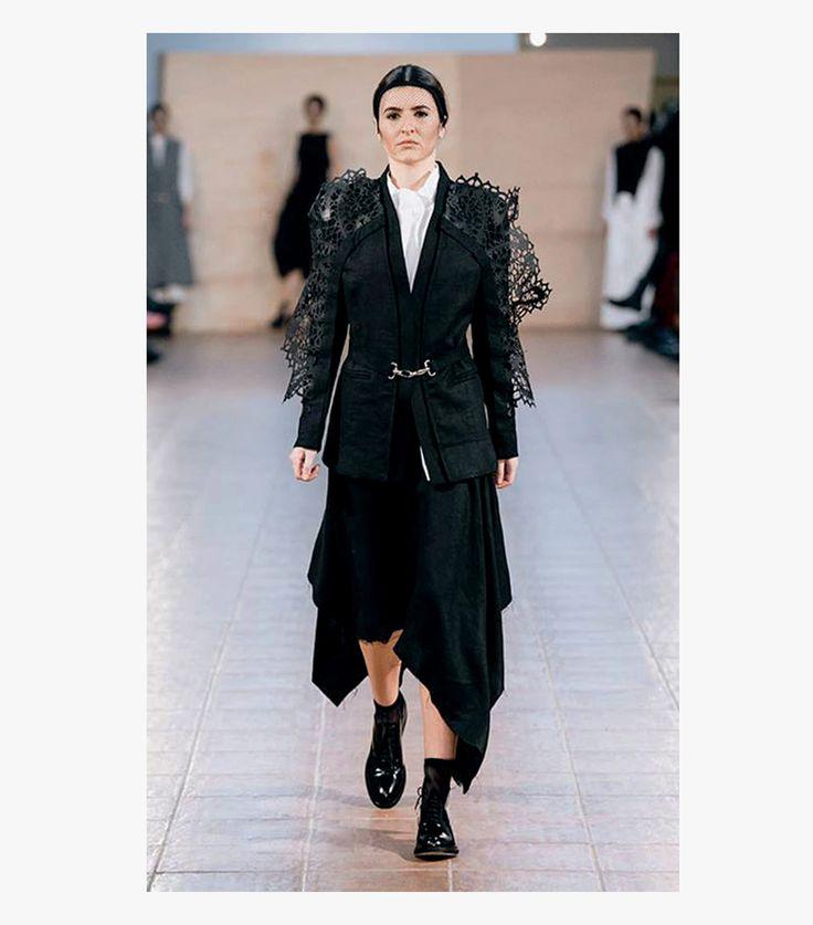 Laser Lace Blazer with draped skirt Fashion designer : Andreea Castrase