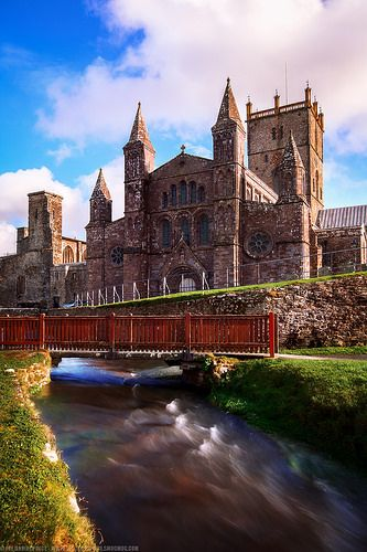 River passing St David's Cathedral, Pembrokeshire, Wales
