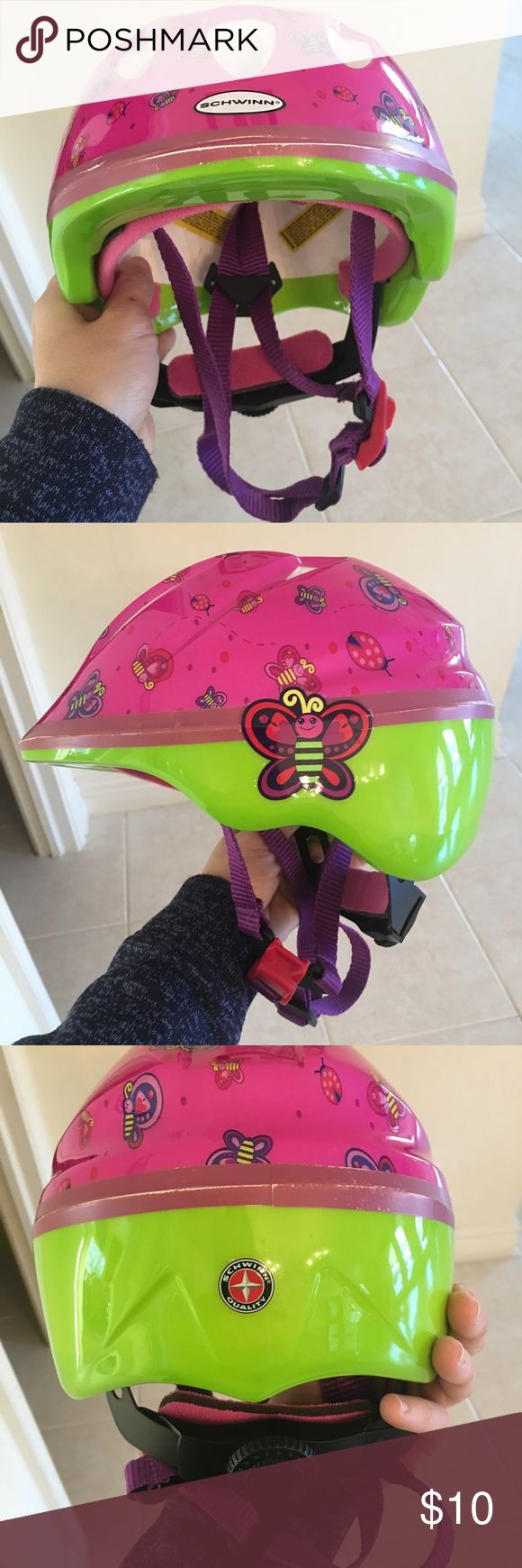 Schwinn infant/ toddler bike helmet Schwinn bicycle pack hemet. 360 dial fit (Adjustable) to fit child's head size. Vents in the outer shell help to keep head cool and safe. Great condition. Bright colors with butterflies print. My daughter wore this helmet from 8 months-3 years old. schwinn Accessories Hats