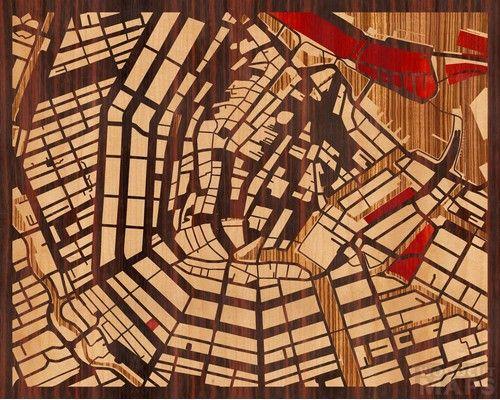Woodcut Map of Amsterdam, The Netherlands: Google Maps, Maps Crafts, Maps I, Beauty Woodcut, Beauty Maps, Woodcut Maps, Woods Cut Maps, Maps Art, Wooden Maps
