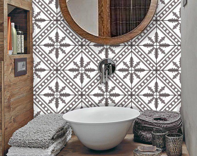 Tile Sticker Kitchen Bath Floor Wall Waterproof Removable Etsy Wall Waterproofing Flooring Tile Stickers Kitchen