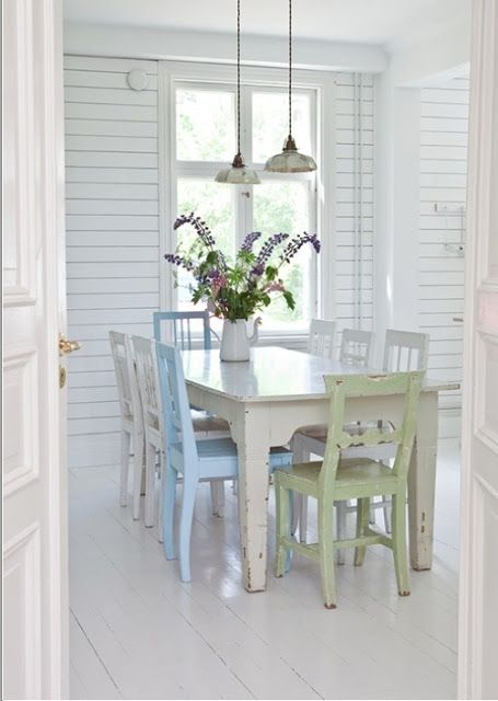white cladding, pendant light, vintage coloured dining chairs, white painted floorboards floor