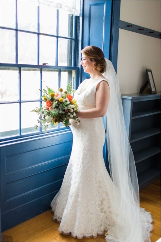 Expecting bridal look with twisted back hair and veil. #bridals #bouquet #weddingchicks Captured By: Rodeo & Co Photography ---> http://www.weddingchicks.com/2014/04/28/reveal-your-babys-gender-with-this-cute-wedding-idea/