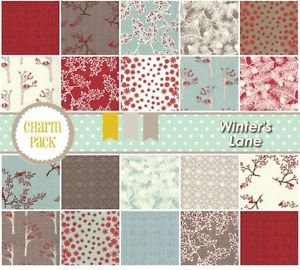 "Winter's Lane - Birdie Co 13090PP Moda 3 Charm Packs 126-5"" Quilt Fabric Squares. Suggested by Brooke Gilbert!"