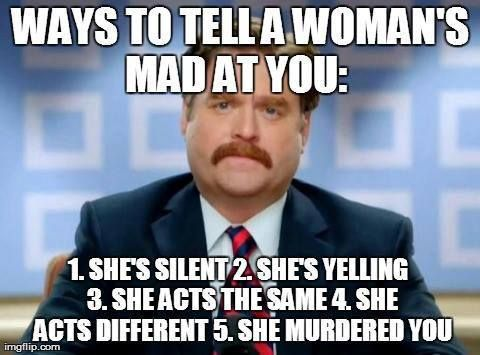Ways to tell a woman's mad at you lol