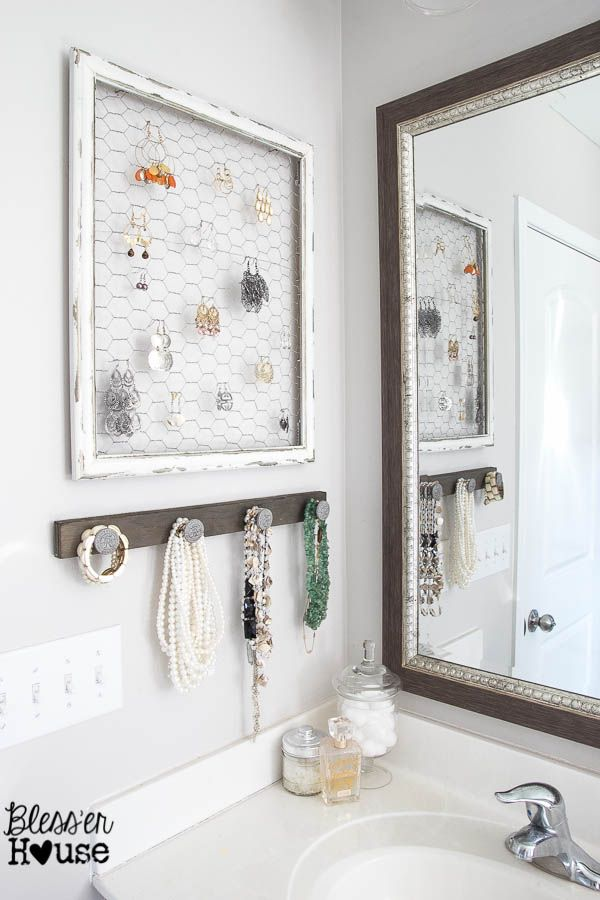 Home Tour - Bless'er House--jewelry holder in bathroom