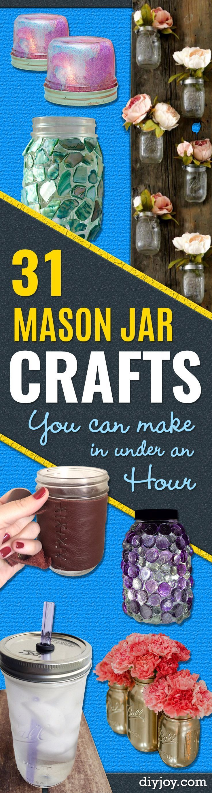 Mason Jar Crafts You Can Make In Under an Hour - Quick Mason Jar DIY Projects that Make Cool Home Decor and Awesome DIY Gifts - Best Creative Ideas for Mason Jars with Step By Step Tutorials and Instructions - For Teens, For Home, For Gifts, For Kids, For Summer, For Fall http://diyjoy.com/quick-mason-jar-crafts