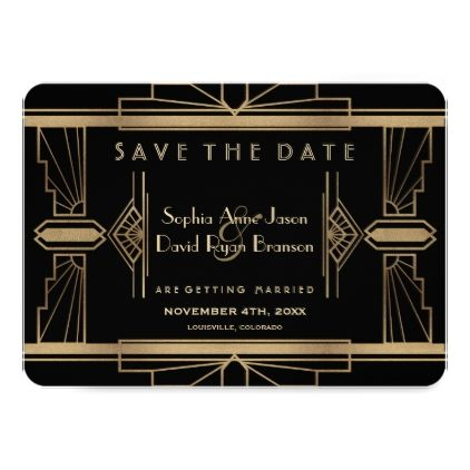 Glamorous Roaring 20's Great Gatsby Save The Date Card - wedding invitations diy cyo special idea personalize card