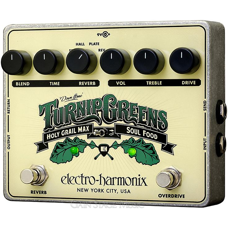 Electro-Harmonix Turnip Greens Guitar Pedal with Reverb and Overdrive. #EHX #ElectroHarmonix #TurnipGreens #GuitarPedal #GuitarEFX #EFX #Overdrive #Reverb #HolyGrail #New (http://www.gainstagemusic.com/pedals-efx/effects-preamp-pedals/electro-harmonix-turnip-greens-guitar-pedal-with-reverb-and-overdrive/)