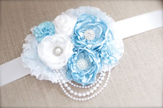 Vintage Couture Baby Blue and White MATERNITY by LilBirdsCouture