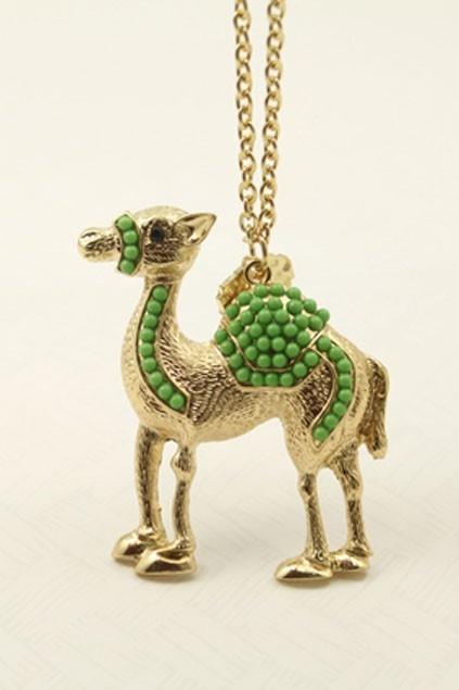 Jeweled Camel Pendant Necklace OASAP.com