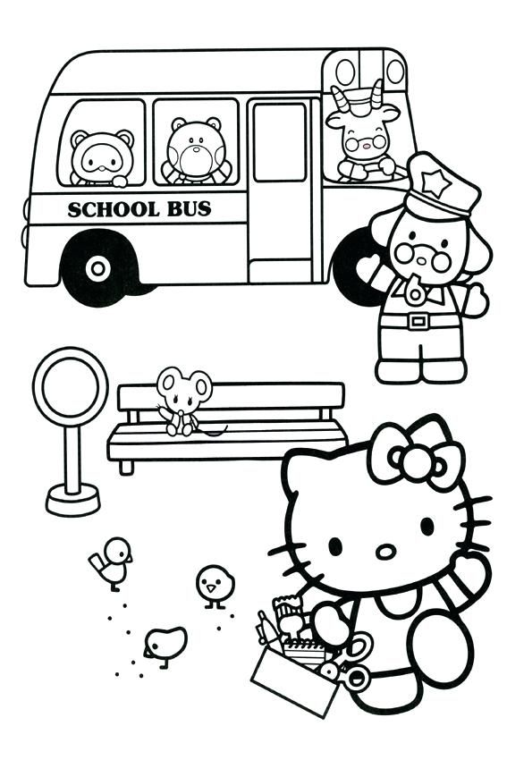 Hello Kitty Back To School Coloring Pages School Bus Hello Kitty