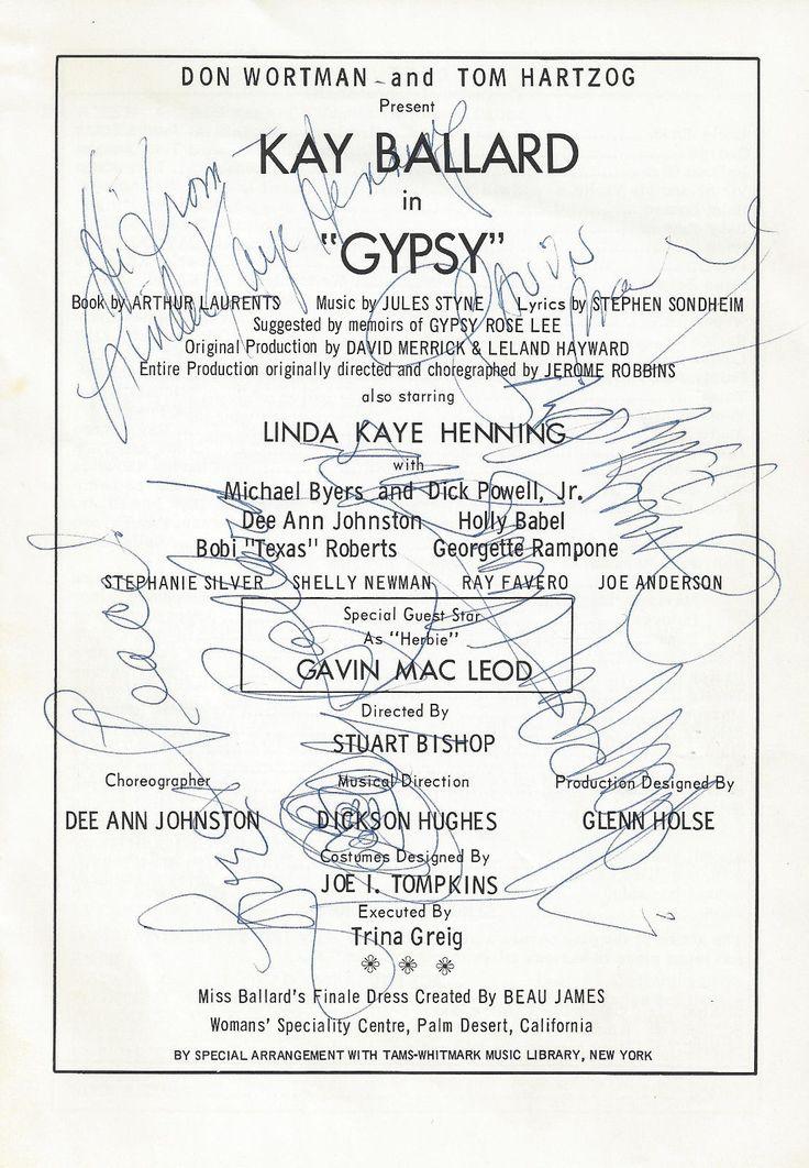 "Kaye Ballard (Signed) ""GYPSY"" Gavin MacLeod / Stephen Sondheim 1973 Playbill | eBay"