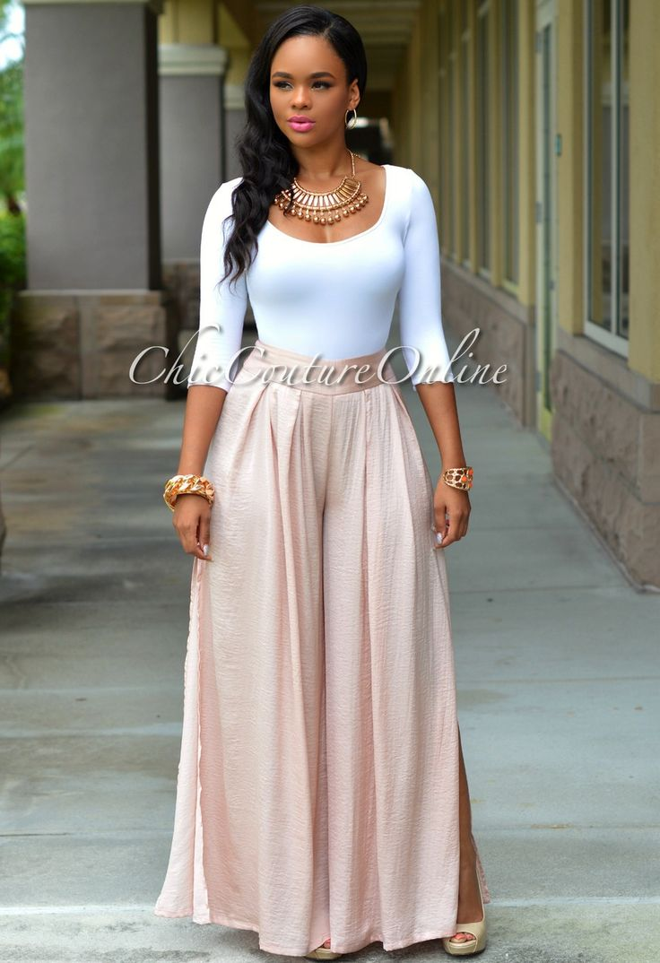 Chic Couture Online - Colby Blush Silky Palazzo Pants, $50.00 (http://www.chiccoutureonline.com/colby-blush-silky-palazzo-pants/)