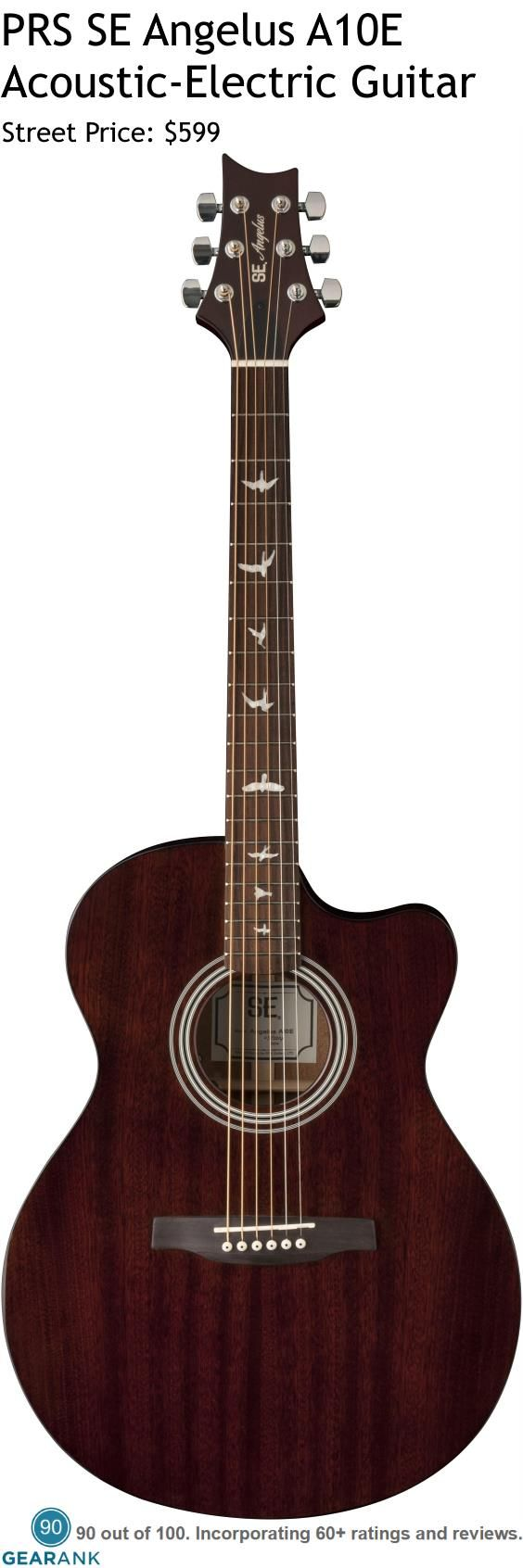 PRS SE Angelus A10E Acoustic-Electric Guitar. This is an all-mahogany guitar with a solid top and laminated back and sides. It uses an Undersaddle pickup with volume and tone controls. For a Detailed Guide to Acoustic Guitars see https://www.gearank.com/guides/acoustic-guitars