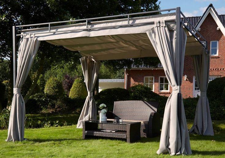 Pavillon mit Seitenteilen »Flachdach Pergola« 3x3 m für 249,99€. Sandfarbener Pavillon inkl. 2 Seitenteile mit Schal, Element Maße (LxH) 25 x 18 cm bei OTTO