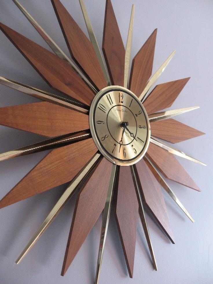 Large 1960s Sunburst Wall Clock by Phinney Walker. $26.00 ...