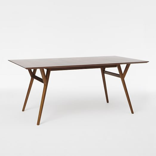 """$699  Dimensions:      Overall product dimensions (without leaf): 60""""w x 38""""d x 30""""h.     Overall product dimensions (with leaf): 80""""w x 38""""d x 30""""h.     Thickness of tabletop: 1"""".     Comfortably seats up to: 6 - 8.     Clearance under table: 29"""".  Mid-Century Expandable Dining Table 