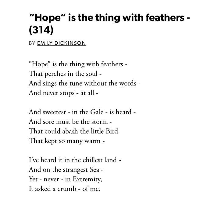 hope is the thing with feathers Hope is the thing with feathers hope is the thing with feathers by: emily dickinson in her poem, emily dickinson communicates that hope is like a bird because of its free and independent spirit.