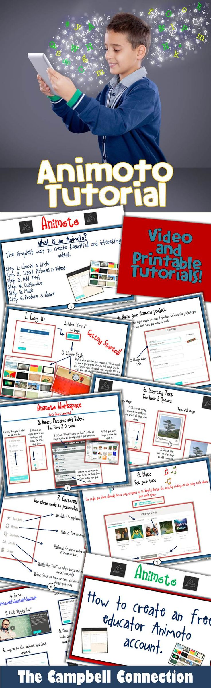 Do you want to use Animoto with your students, but do not know where to begin? These Animoto tutorials are quick and easy guides for both students and teachers to better understand how to create Animotos. There is an easy to follow and simple video for students and teachers to watch, along with a printable tutorials. Get ready to create Animotos!