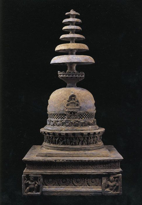 Reliquary Stupa Gandhara 2nd Century Schist with traces of gilding Height: 34 in. (86.3 cm.)Asia Week New York 2006