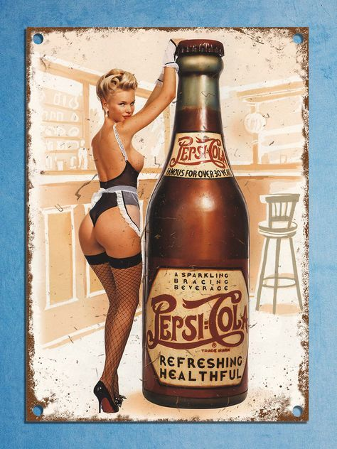 Pepsi pin up vintage retro style plaque kitchen pub bar metal sign tin man cave | eBay