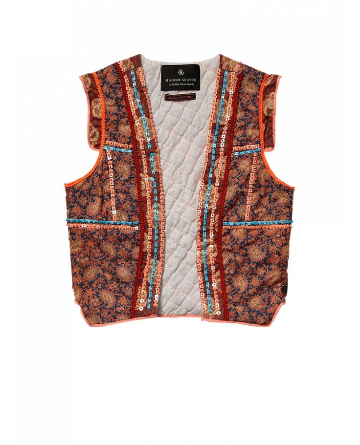 patchwork embellished gilet gilets official scotch soda online fashion apparel shops. Black Bedroom Furniture Sets. Home Design Ideas