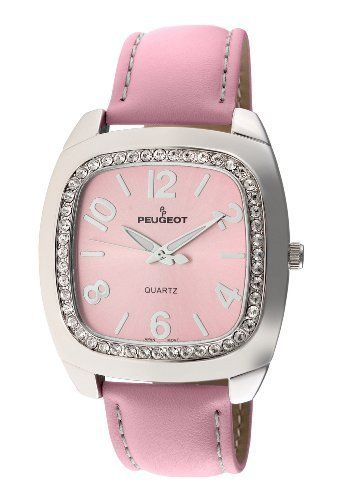 Peugeot Women's 310PK Silver-Tone Swarovski Crystal Accented Pink Leather Strap Watch Peugeot. Save 31 Off!. $49.99. Free lifetime battery replacement from Peugeot. Water-resistant to 99 feet (30 M). Accurate Japanese-quartz movement; durable mineral crystal. Limited lifetime warranty. Genuine Swarovski crystal accented bezel