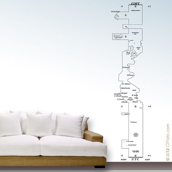 GEOGRAPHY - WALL DECAL : Large map of Greenwich Meridian Time Zone with Iceland, Uk, Europe, Africa