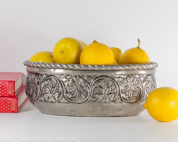 Large Fruit Bowl: Vintage Persian Oval Fruit by CozyTraditions