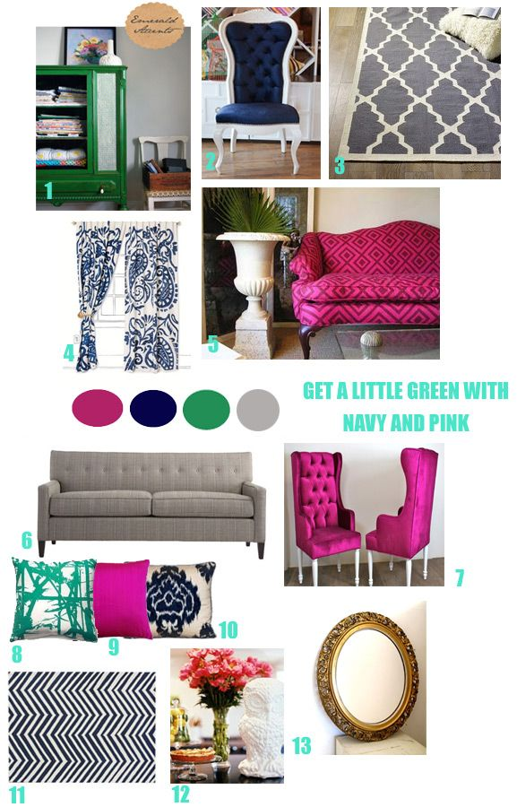 Navy Kelly Green Gray Pink Fuschia And Gold Accents For Room